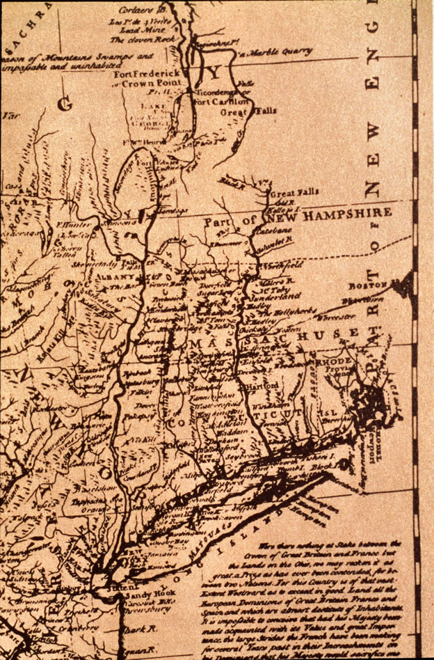 A Map of New England showing Massachusetts, Connecticut, New York, and New Hampshire