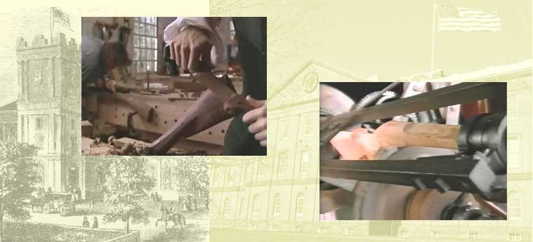 collage compares photos of traditional craftsman carving a gun stock and a similar stock being turned on a Blanchard lathe. Background shows Armory building